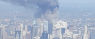 World Trade Center on fire following 9/11 terrorist attack