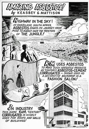 Vintage cartoon showing asbestos sheets as a backdrop to a fashion show.