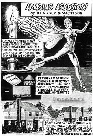 Vintage cartoon showing asbestos use in homes.