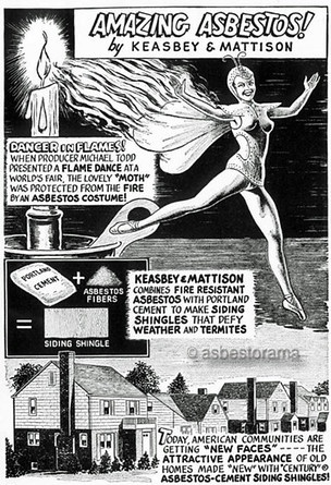 Vintage cartoon showing asbestos use in homes.
