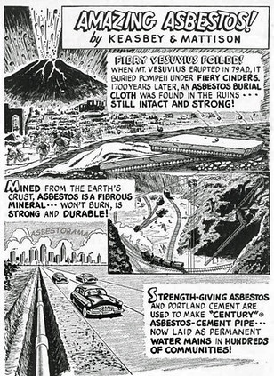 Vintage cartoon showing asbestos cement pipes in our roads.