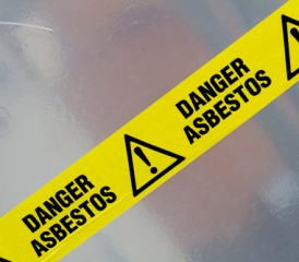 Yellow asbestos warning tape