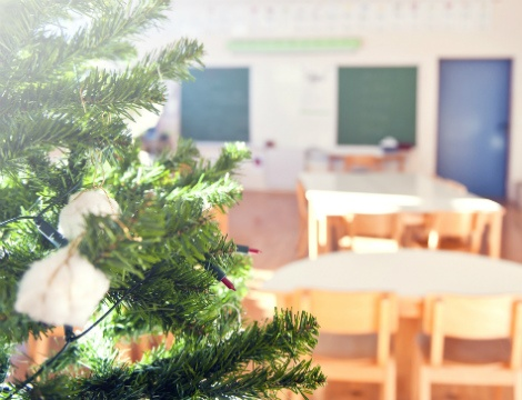 Christmas tree in classroom