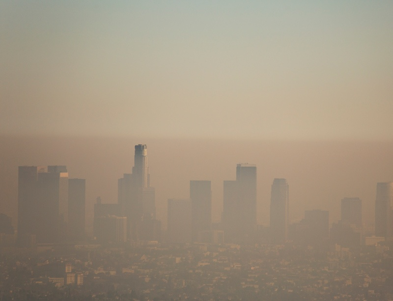 Smog over the Los Angeles skyline