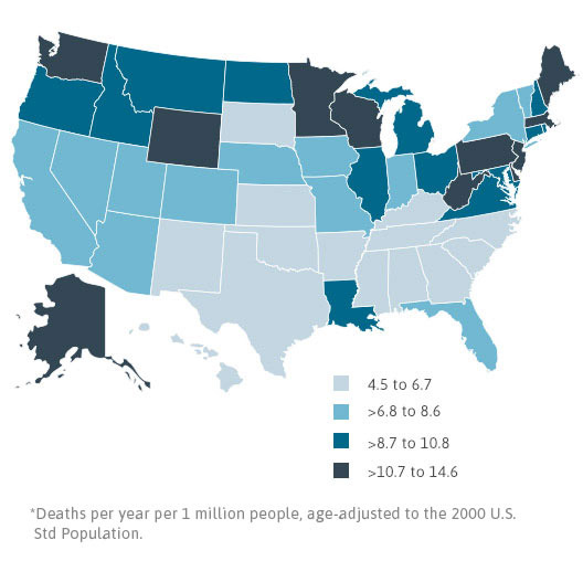 Mesothelioma Death Rates by State, 1999-2010