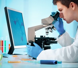Male researcher looks through a microscope