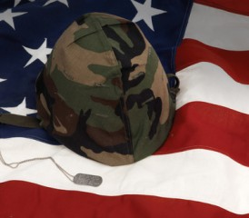 Military Flag & Helmet