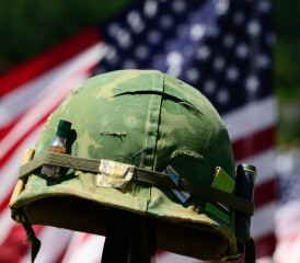 Military Helmet & Flag