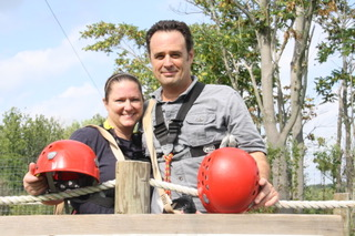 Pam and Jim McWhorter during a zip-line adventure in 2013.