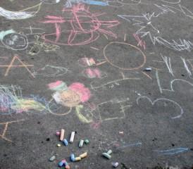 Chalk drawings on a sidewalk