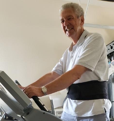Terry Latham walks on a treadmill.
