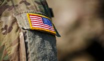 Army fatigue sleeve with American flag patch