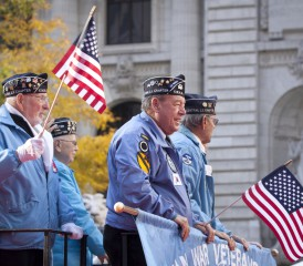Veterans Waving American Flags