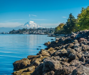 Washington State shoreline with Mt. Rainier in the distance