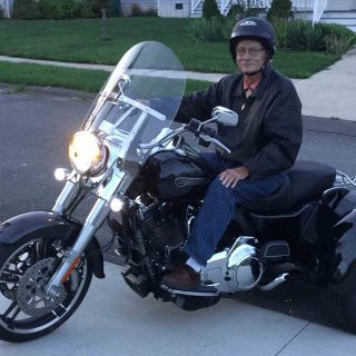 Al Moylan on his Harley-Davidson