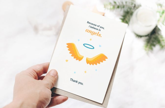 Downloadable thank you card for caregiver with angel wings