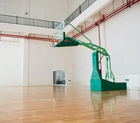 Basketball hoop at a gymnasium