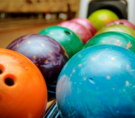 Bowling balls in a rack
