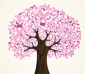 Tree with breast cancer awareness ribbons