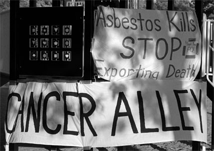 Protesting outside an asbestos mine
