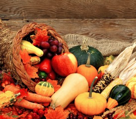 Basket of Fall Vegetables and Fruits