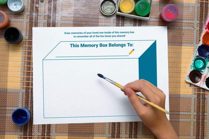 Downloadable memory box worksheet for grieving family members