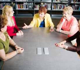 Women gathered at a support group