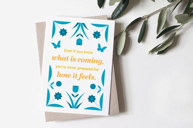 Sympathy card with uplifting message