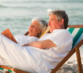 Older couple at the beach on vacation