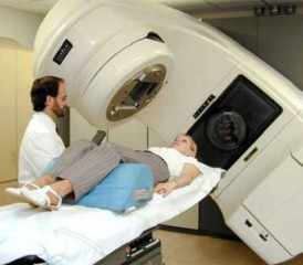 Patient receiving external beam radiation in a linear accelerator