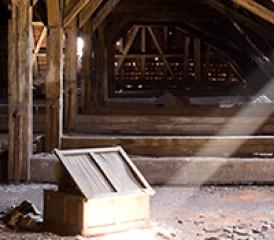 Chest in empty attic