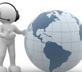 Figure wearing a headset and holding a globe