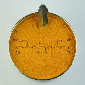 Turmeric with curcumin molecule in powder