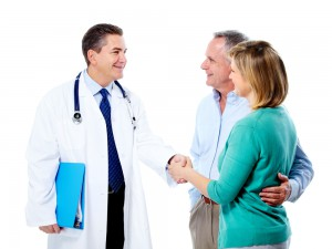 Doctor Meets With Patients