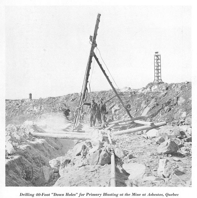 Drilling at Jeffery Mine in Asbestos, Quebec