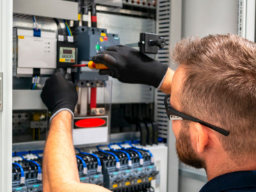 Electrician working on a circuit