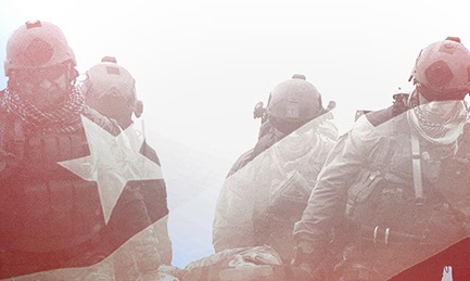 Soldiers and American Flag
