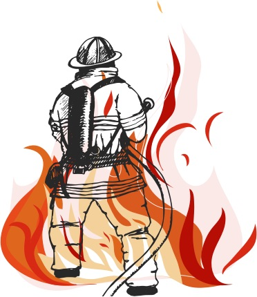 Firefighter fighting fire illistration