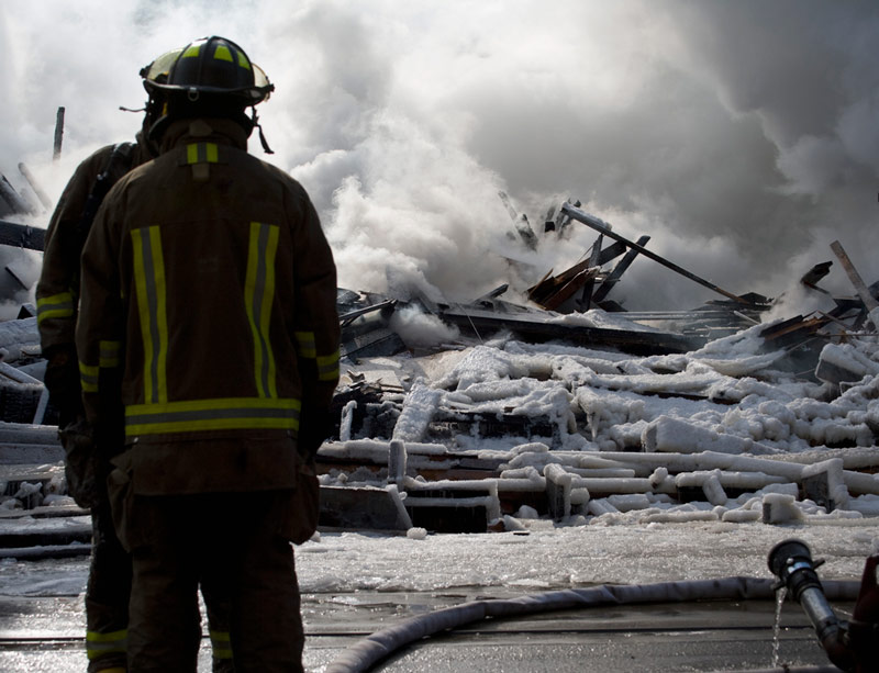 Firefighters at a disaster