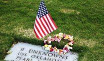 Flag at Pearl Harbor grave marker