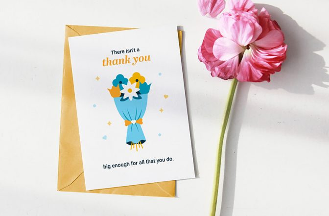 Downloadable thank you card for caregiver with a bouquet of flowers