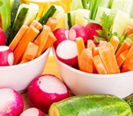 Cut veggies in a bowl