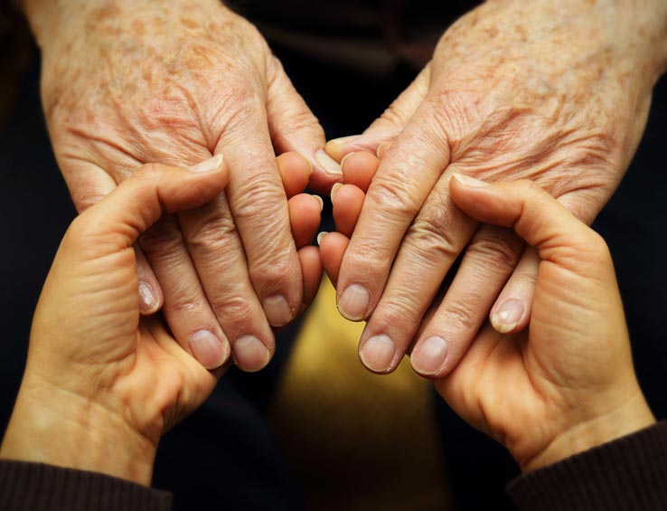Hands held in support