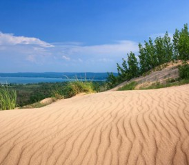 View of Glen Lake from Sleeping Bear Dunes National Lakeshore in Michigan.