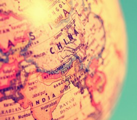 Globe focusing on Asia