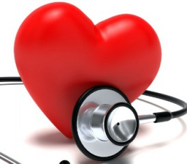 Red heart with a stethoscope