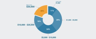 Pie chart of the costs associated with cancer treatment