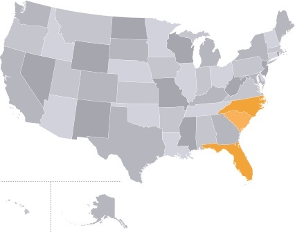 United States map showing states affected by hurricanes