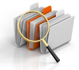 Illustration of magnifying glass over files