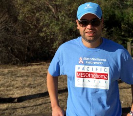 Jose Ortiz from The Mesothelioma Center raising mesothelioma awareness at a Pacific Mesothelioma Center event.